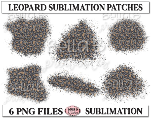 Grey Leopard Sublimation Patches - T Shirt Bleaching Patches