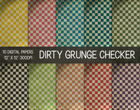 Dirty Grunge Checker Digital Papers, Grunge Texture Paper