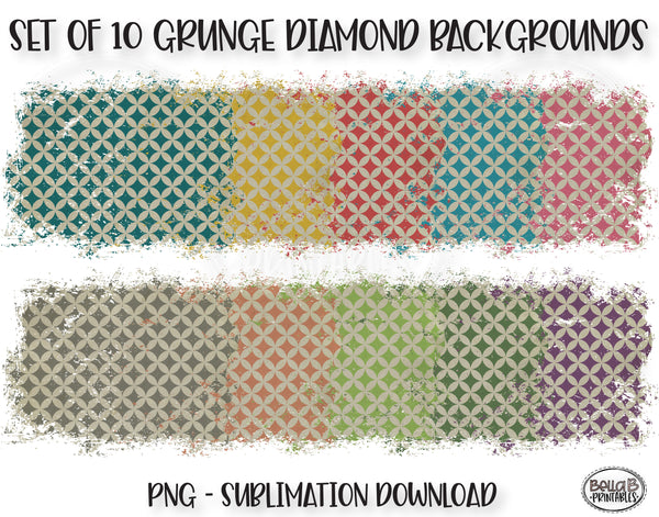 Dirty Grunge Diamond Sublimation Background Bundle, Backsplash