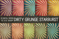 Dirty Grunge Starburst Digital Papers, Grunge Texture Paper