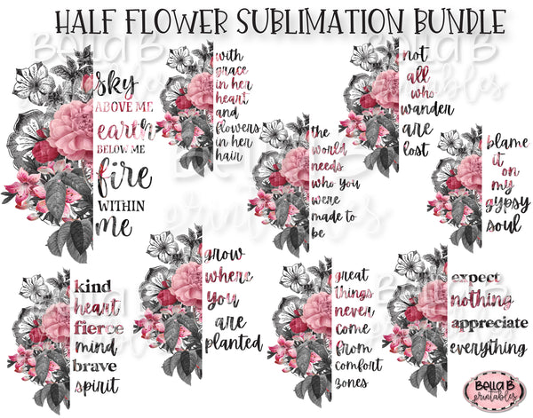 Half Flower Sublimation Design Bundle, Split Flower