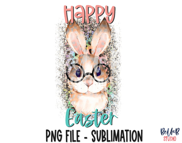 Happy Easter, Bunny with Glasses Sublimation Design