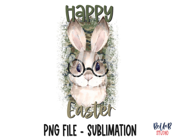Happy Easter, Camo Bunny with Glasses Sublimation Design
