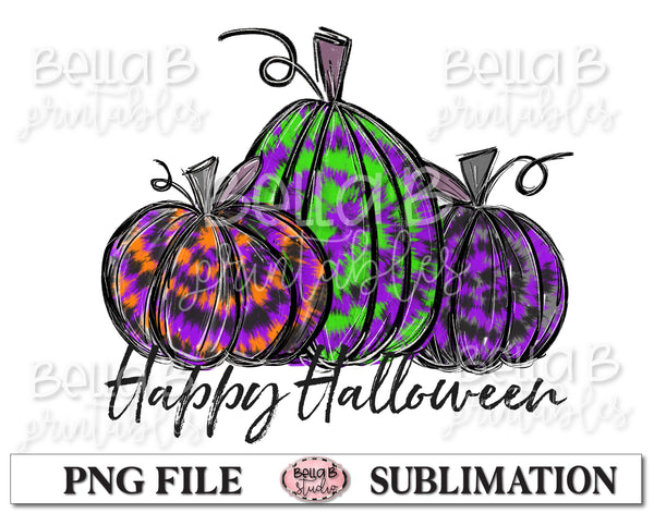 Happy Halloween Sublimation Design, Halloween Pumpkins, Hand Drawn