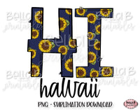 Sunflower Hawaii State Sublimation Design