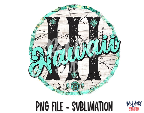 Hawaii Turquoise Sublimation Design