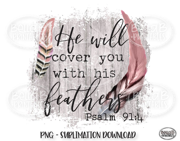 He Will Cover You With His Feathers Sublimation Design, Christian Design