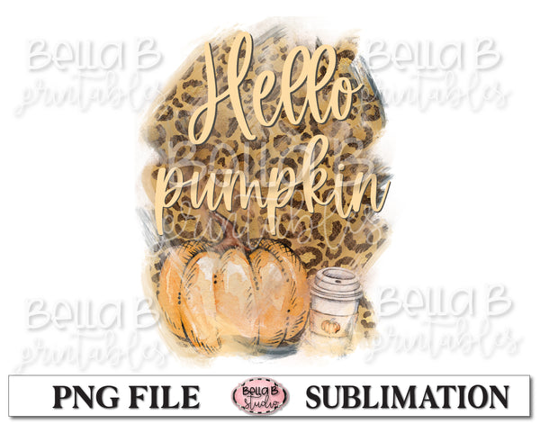 Leopard Print Hello Pumpkin Sublimation Design, Fall Pumpkins