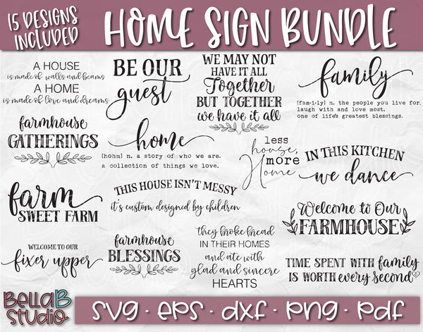 Family Quotes SVG Bundle, Wood Sign SVG Bundle