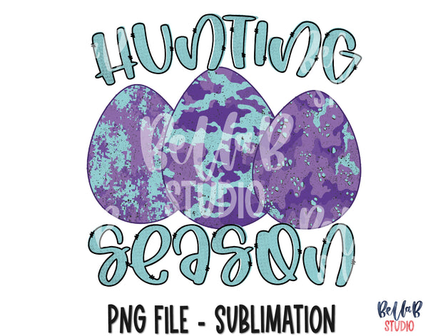 Hunting Season - Purple Camo Easter Eggs Sublimation Design