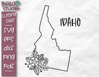 Floral Idaho Map SVG File