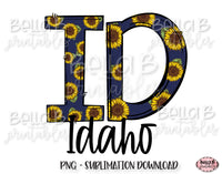 Sunflower Idaho State Sublimation Design