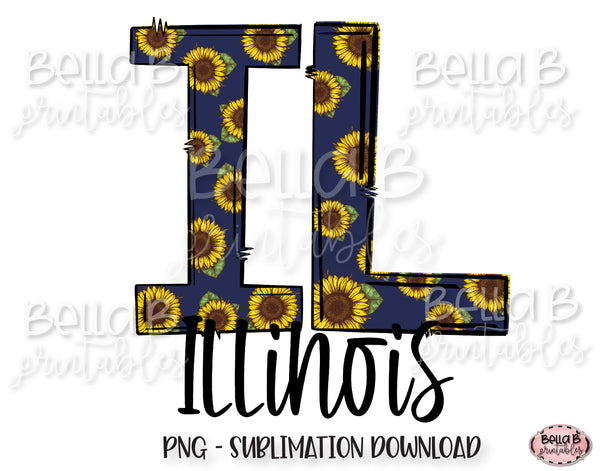 Sunflower Illinois State Sublimation Design