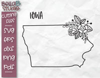 Floral Iowa Map SVG File
