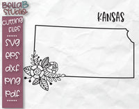Floral Kansas Map SVG File