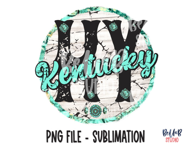 Kentucky Turquoise Sublimation Design