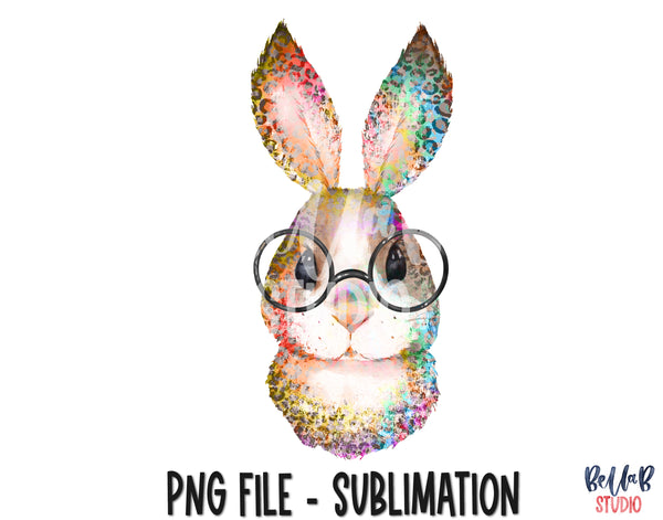 Tie Dye Leopard Bunny with Glasses Sublimation Design