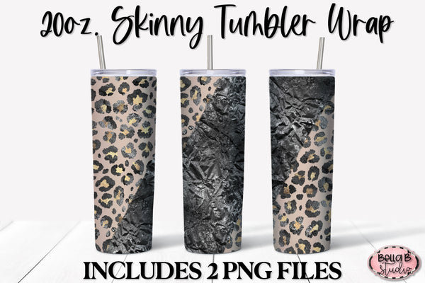 Black and Gold Glitter Leopard 20 oz Skinny Tumbler Design