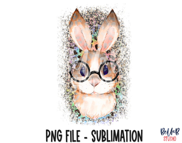 Leopard Bunny with Glasses Sublimation Design