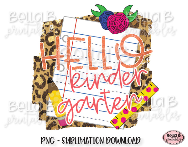Hello Kindergarten Sublimation Design, School Design