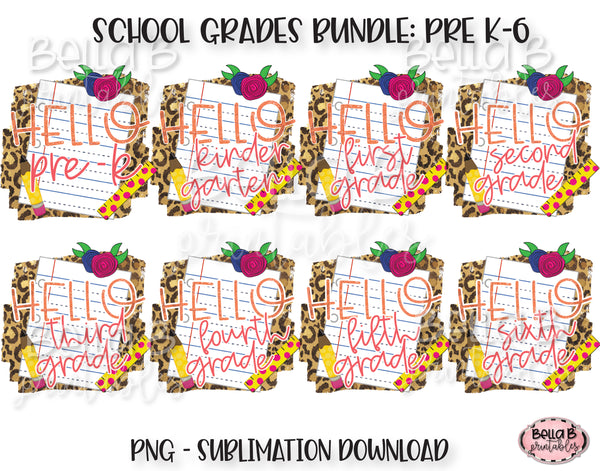 Hello School Grades Sublimation Bundle, School Design