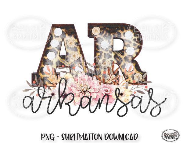 Arkansas State Sublimation Design, Leopard Print Marquee