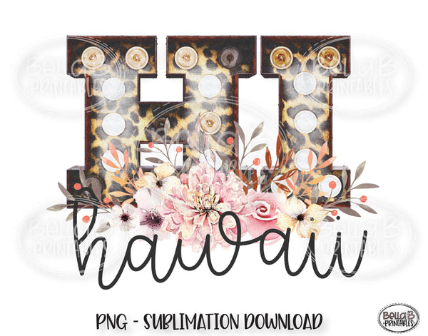 Hawaii State Sublimation Design, Leopard Print Marquee
