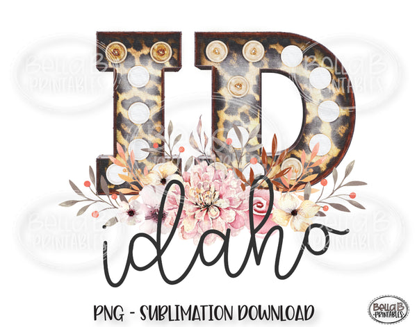Idaho State Sublimation Design, Leopard Print Marquee