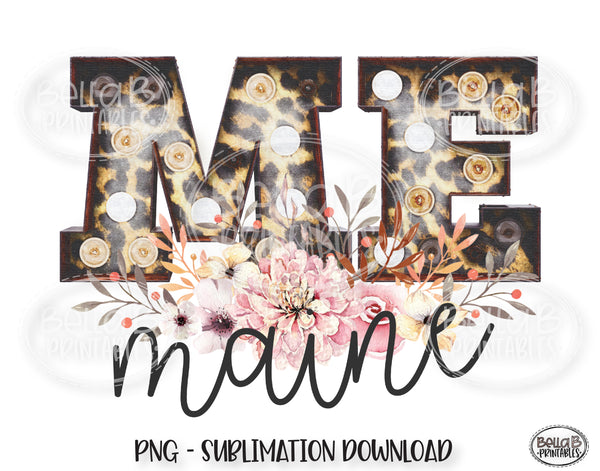 Maine State Sublimation Design, Leopard Print Marquee