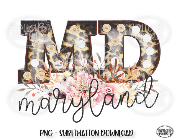 Maryland State Sublimation Design, Leopard Print Marquee