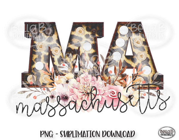 Massachusetts State Sublimation Design, Leopard Print Marquee
