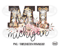 Michigan State Sublimation Design, Leopard Print Marquee