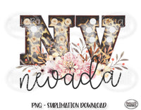 Nevada State Sublimation Design, Leopard Print Marquee