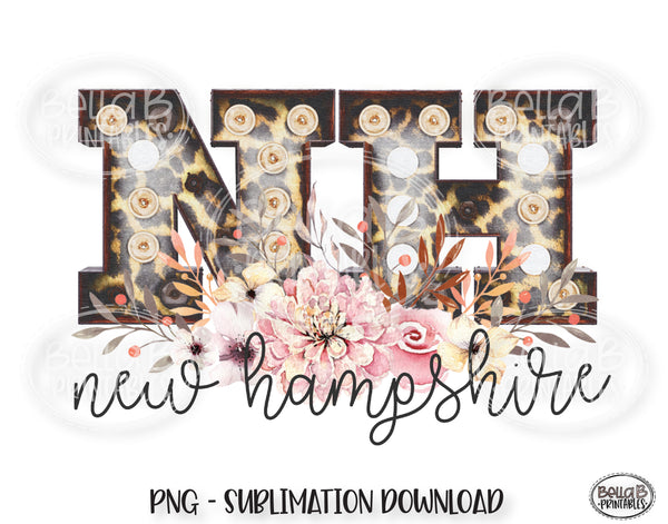 New Hampshire State Sublimation Design, Leopard Print Marquee