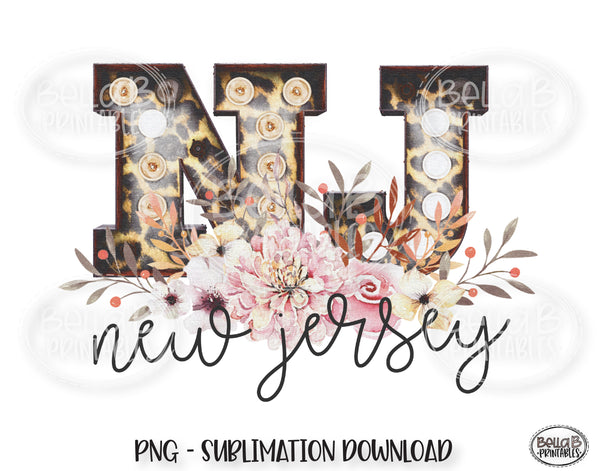 New Jersey State Sublimation Design, Leopard Print Marquee