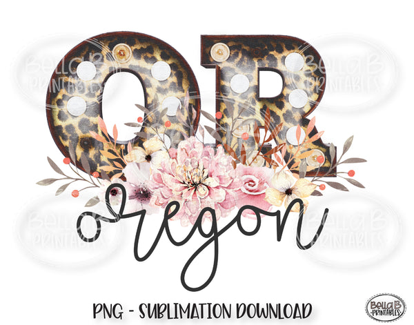 Oregon State Sublimation Design, Leopard Print Marquee