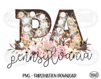 Pennsylvania State Sublimation Design, Leopard Print Marquee