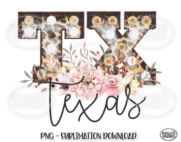Texas State Sublimation Design, Leopard Print Marquee