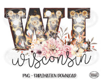 Wisconsin State Sublimation Design, Leopard Print Marquee