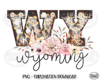 Wyoming State Sublimation Design, Leopard Print Marquee