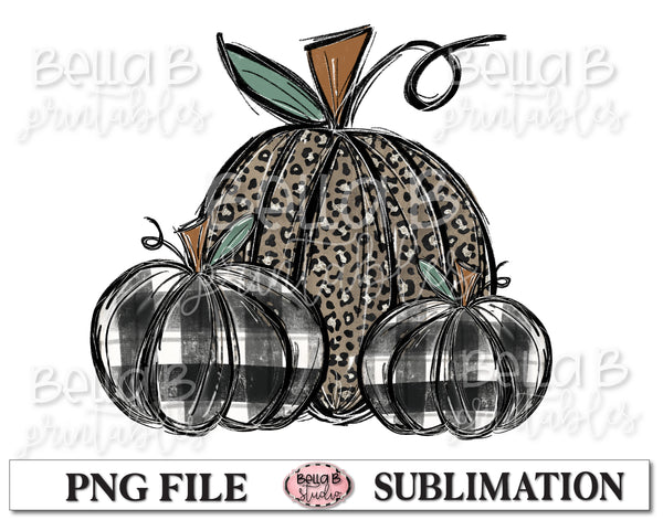 Leopard and Plaid Fall Pumpkins Sublimation Design