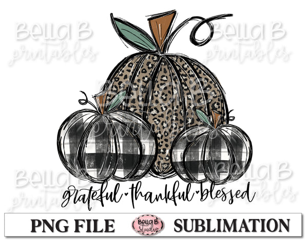 Leopard and Plaid Fall Pumpkins Sublimation Design, Grateful Thankful Blessed
