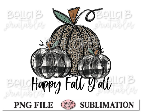 Leopard and Plaid Fall Pumpkins Sublimation Design, Happy Fall Y'all