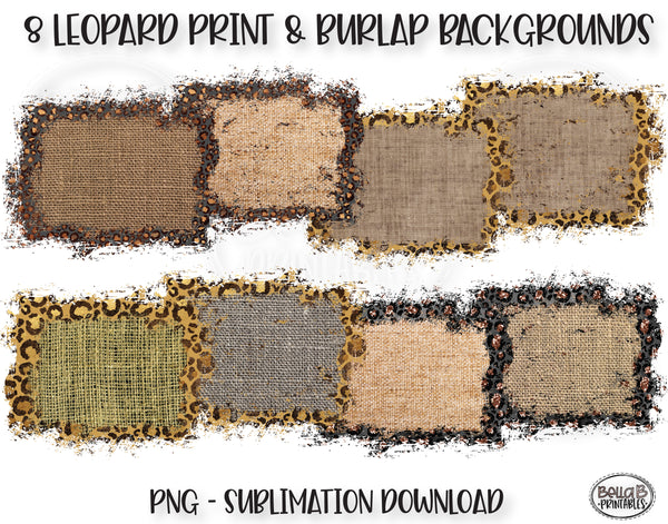 Burlap and Leopard Print Sublimation Background Bundle, Backsplash