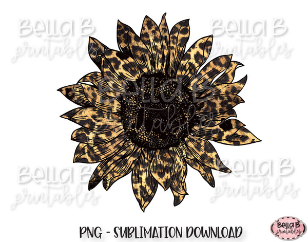 Leopard Print Sunflower Sublimation Design