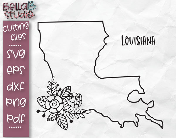 Floral Louisiana Map SVG File