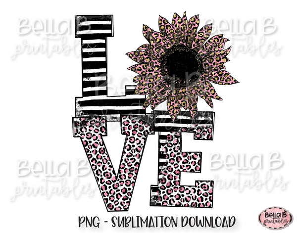 Leopard Love Sunflower Sublimation Design