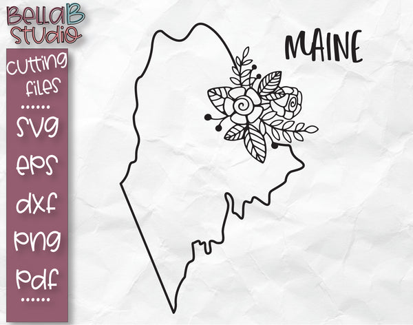 Floral Maine Map SVG File