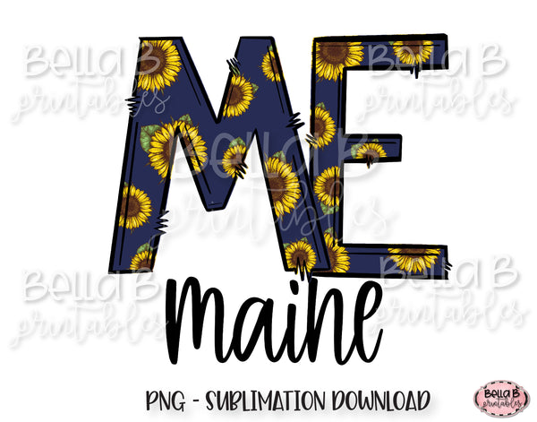 Sunflower Maine State Sublimation Design