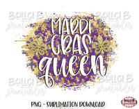 Mardi Gras Sublimation Design, Mardi Gras Queen